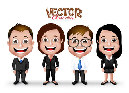 Illustrazione per Set of Realistic 3D Professional Man and Woman Characters Happy Smiling in Formal Dress Attire for Business Isolated in White Background.  - Immagini Royalty Free