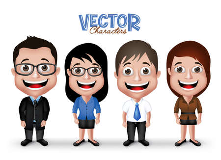 Illustration pour Set of Realistic 3D Professional Man and Woman Characters Happy Smiling in Formal Dress Attire for Business Isolated in White Background.  - image libre de droit