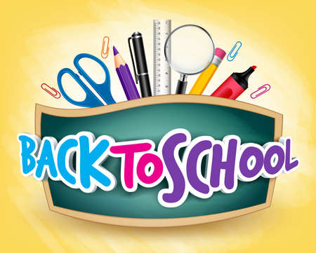 Photo pour 3D Realistic Back to School Title Poster Design in a Blackboard with School Items in a Background. Editable Vector Illustration - image libre de droit