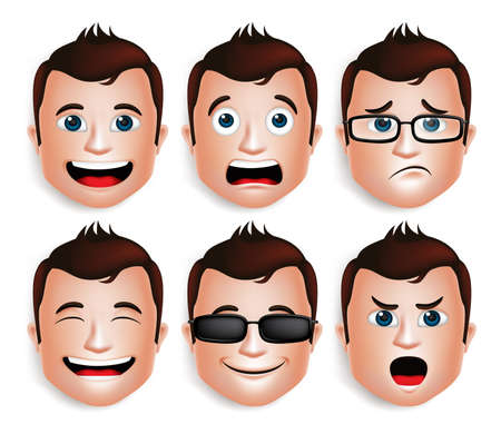 Illustration pour Set of 3D Realistic Handsome Man Head with Different Facial Expressions for Avatar. Isolated in White Background Editable Vector Illustration - image libre de droit