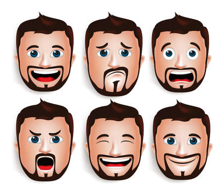 Ilustración de Set of 3D Realistic Handsome Man Head with Different Facial Expressions With Beard Avatar. Isolated in White Background Editable Vector Illustration - Imagen libre de derechos