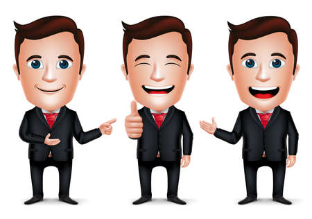 Illustration pour 3D Realistic Businessman Cartoon Character with Different Pose and Hand Gesture Wearing Black Suit Isolated in White Background. Set of Vector Illustration. - image libre de droit