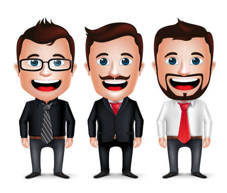 Illustration pour 3D Realistic Businessman Cartoon Character with Different Business Attire and Necktie Isolated in White Background. Set of Vector Illustration. - image libre de droit