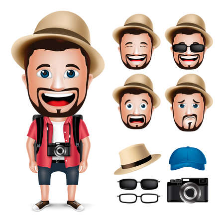 Ilustración de 3D Realistic Tourist Man Character Wearing Casual Dress with Camera and Set of Head Facial Expression isolated in White Background. Vector Illustration - Imagen libre de derechos