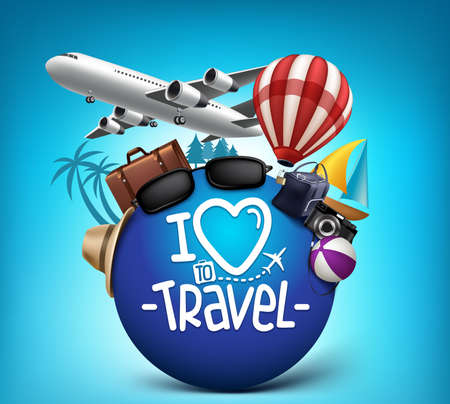 Illustration for 3D Realistic Travel and Tour Poster Design Around the World with Summer Elements. Vector Illustration - Royalty Free Image