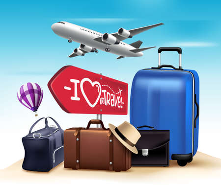 Illustration for 3D Realistic Travel and Tour Design with Set and Collections of Bags and Airplane. Vector Illustration - Royalty Free Image