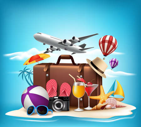 Illustration pour 3D Realistic Summer Vacation Design for Travel in a Sand Beach Island in Horizon with Summer Items. Vector Illustration - image libre de droit