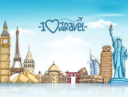 Illustration for Travel and Tourism Background with Famous World Landmarks in 3d Realistic and Sketch Drawing Elements. Vector Illustration - Royalty Free Image