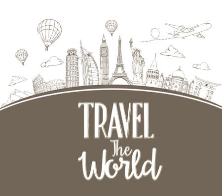 Illustration pour Travel The World Design Background of Line Drawing of Famous Landmarks Around The World. Vector Illustration - image libre de droit