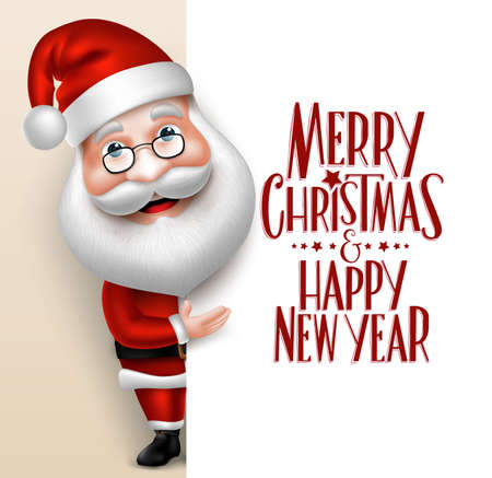 Illustration for 3D Realistic Santa Claus Cartoon Character Showing  Merry Christmas Tittle Written  in Blank Space. Vector Illustration - Royalty Free Image