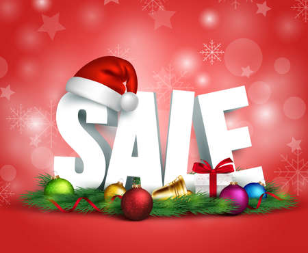 Illustration for 3D Christmas Sale Text for Promotion with a Christmas hat  and Decorations in Red Background. Realistic Vector Illustration - Royalty Free Image