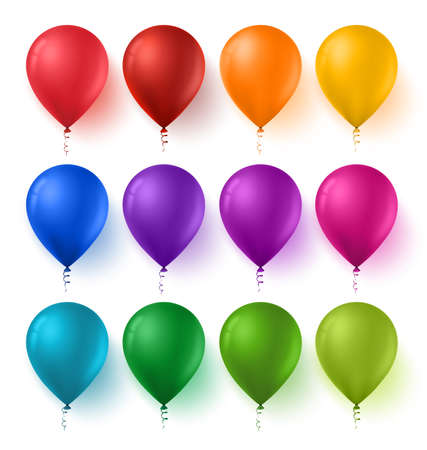 3d Realistic Colorful Set of Birthday Balloons with Glossy and Shiny Colors Isolated in White Background. Vector Illustration