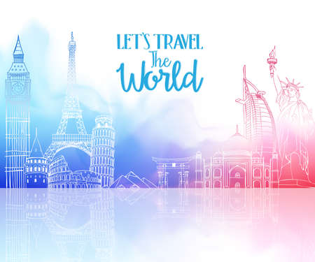 Illustration for Travel The World Hand Drawing with Famous Landmarks and Places in Colorful Watercolor Background with Reflection. Vector Illustration - Royalty Free Image