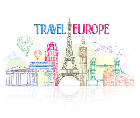 Illustration pour Colorful Travel Europe Hand Drawing with Famous Landmarks and Places in White Background with Reflection. Vector Illustration - image libre de droit