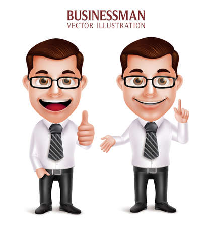 Illustration for Set of 3D Realistic Professional Business Man Character with Pointing and OK Hand Gesture Isolated in White Background. Vector Illustration - Royalty Free Image