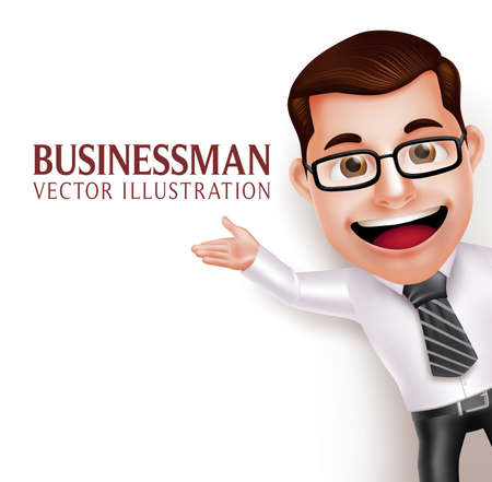 Illustration pour 3D Realistic Professional Business Man Character  Waving Hand for Presentation in Empty White Background. Vector Illustration - image libre de droit