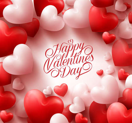 Photo for 3D Realistic Red Hearts Background with Sweet Happy Valentines Day Greetings in the Middle. Illustration - Royalty Free Image
