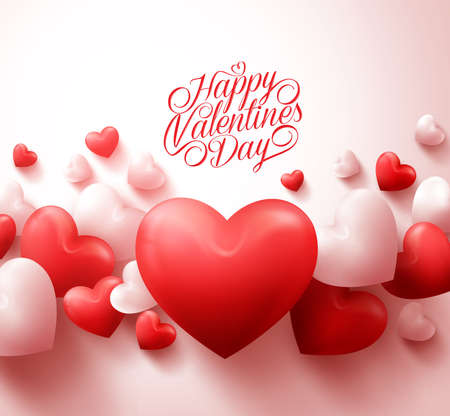 Illustration pour Happy Valentines Day Background with 3D Realistic Red Hearts and Typography Text in White Background. Illustration - image libre de droit