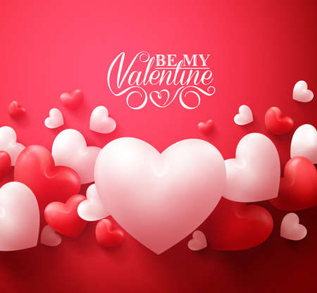 Foto de Realistic 3D Colorful Red and White Romantic Valentine Hearts Background Floating with Happy Valentines Day Greetings. Illustration - Imagen libre de derechos