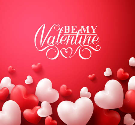 Realistic 3D Colorful Romantic Valentine Hearts in Red Background Floating with Happy Valentines Day Greetings. Illustration