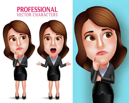 Illustration for Set of 3D Realistic Professional Woman Character with Business Outfit Thinking or Confused and Talking in Poses Isolated in White Background. Vector Illustration - Royalty Free Image