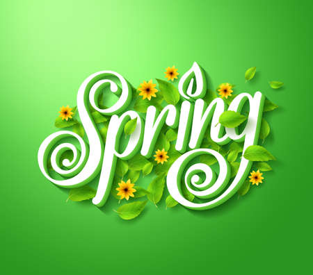 Illustration pour Spring Typography Title Concept in 3D with Long Shadow Decorated with Flying Leaves and Flowers in Green Background. Realistic Vector Illustration - image libre de droit