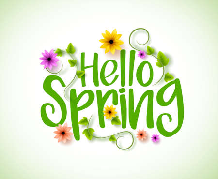 Hello Spring Vector Design with 3D Realistic Fresh Plants and Flowers Elements for Spring Season. Vector Illustration