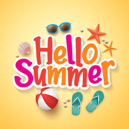 Ilustración de Hello Summer Text Title Poster Design with Realistic 3D Vector Elements and Decorations in Yellow Background. Vector Illustration - Imagen libre de derechos