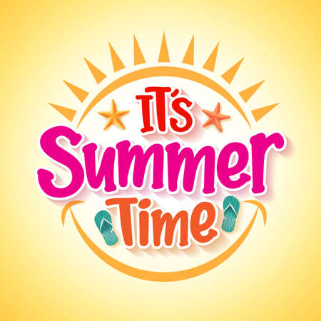 Illustrazione per Summer Time Poster Design with Happy and Fun Concept with Realistic 3D Vector Elements and Decorations in Yellow Background. Vector Illustration - Immagini Royalty Free