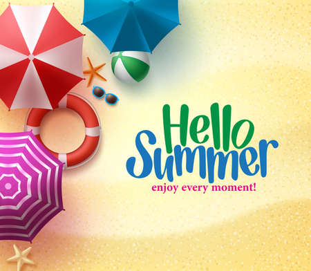 Illustration pour Hello Summer Background with Colorful Umbrella, Beach Ball, and Lifebuoy in the Sand Sea Shore for Summer Season. - image libre de droit