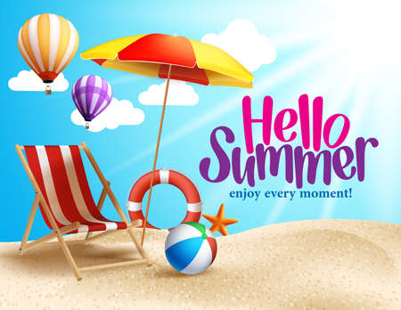 Illustration for Summer Beach Vector Design in the Seashore with Beach Umbrella and Chair. Summer Background Vector Illustration for Beach Holidays - Royalty Free Image