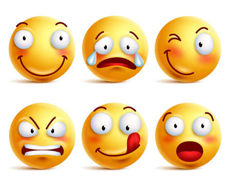 Ilustración de Set of smiley face icons or yellow emoticons with different facial expressions in glossy 3D realistic isolated in white background. Vector illustration - Imagen libre de derechos
