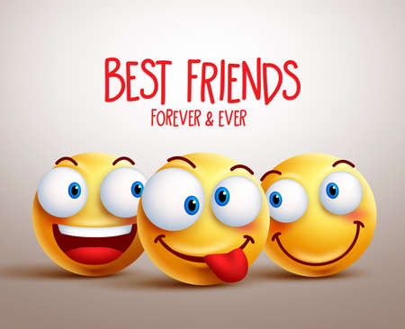 Illustrazione per Best friends smiley face vector design concept with funny facial expressions. 3D realistic vector illustration - Immagini Royalty Free