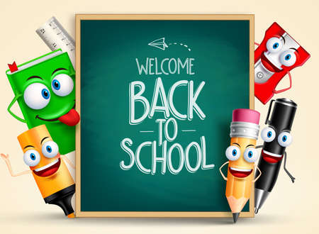 Illustration pour School vector characters of funny pencil, pen, sharpener and other school items holding blackboard with back to school writing. Vector illustration - image libre de droit