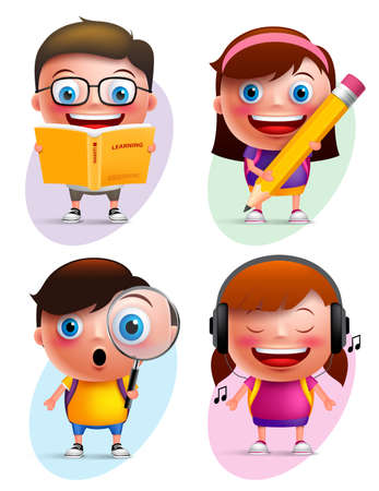 Illustration pour Funny kids vector characters colorful collection reading book, writing, exploring and listening music isolated in white background. Vector illustration - image libre de droit