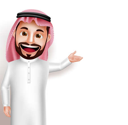 Illustration pour Saudi arab man vector character wearing thobe happy showing empty white space for message and text. Vector illustration. - image libre de droit