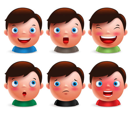 Ilustración de Young boy kid avatar facial expressions set of cute emoticon heads vector characters isolated in white background. Vector illustration. - Imagen libre de derechos