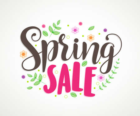 Illustration pour Spring sale vector banner design with colorful leaves and flowers in white background for spring seasonal discount promotion. Vector illustration. - image libre de droit