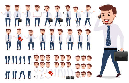 Ilustración de Business man character creation set. Male vector character walking and calling wearing formal office attire with gestures, poses and faces isolated in white. Vector illustration. - Imagen libre de derechos
