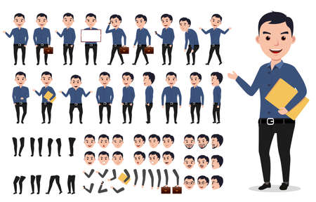 Illustration pour Businessman or male vector character creation set. Professional man holding folder with poses, gestures and emotions isolated in white. Vector illustration. - image libre de droit
