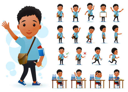 Ilustración de Ready to Use Little Black African Boy Student Character with Different Facial Expressions, Hair Colors, Body Parts and Accessories. Vector Illustration. - Imagen libre de derechos