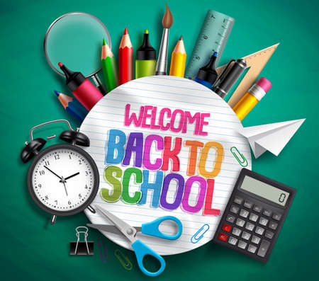 Photo pour Welcome back to school vector banner with school supplies, education elements and colorful text in textured white paper in green background. Vector illustration. - image libre de droit