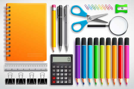 Photo pour School supplies vector set with color pencils notebook, pens and office supplies in white background. Education elements for back to school design. - image libre de droit