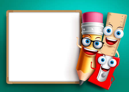 Photo pour Back to school vector background template. Funny school characters and education items like whiteboard with empty blank space for text. Vector illustration. - image libre de droit