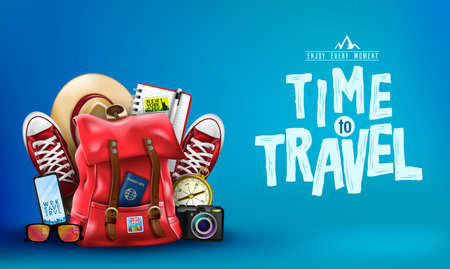 Illustration pour 3D Realistic Time to Travel Banner with Items for Travelling like Backpack, Backpack, Sneakers, Compass, Mobile Phone, Sunglasses, Hat, Camera and Notebook in Blue Background. Vector Illustration - image libre de droit