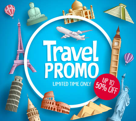Ilustración de Travel promo vector banner promotion design with tourist destinations elements and discount text in blue background for travel agency template. - Imagen libre de derechos
