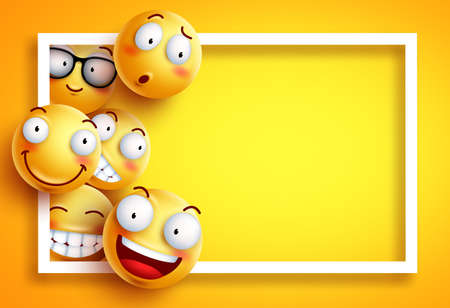 Ilustración de Smiley background vector template with yellow funny smileys or emoticons and empty blank space for text and white frame in yellow background. Vector illustration. - Imagen libre de derechos