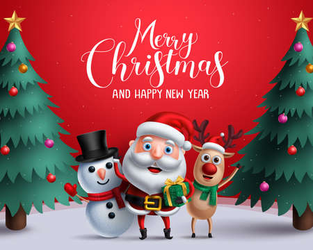 Ilustración de Christmas vector characters like santa claus, reindeer and snowman holding gift with merry christmas greeting and tree in a red background. - Imagen libre de derechos