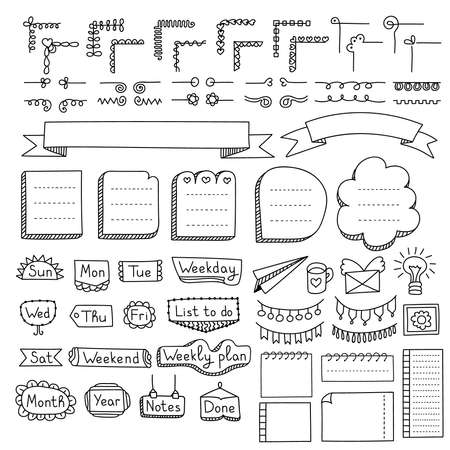 Illustration pour Bullet journal hand drawn vector elements for notebook, diary and planner. Doodle banners isolated on white background. Days of week, notes, list, frames, dividers, corners, ribbons. - image libre de droit