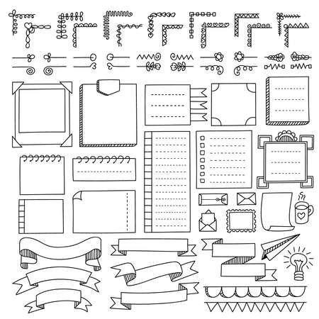 Illustration for Bullet journal hand drawn vector elements for notebook, diary and planner. Doodle banners isolated on white background. Notes, list, frames, dividers, ribbons. - Royalty Free Image